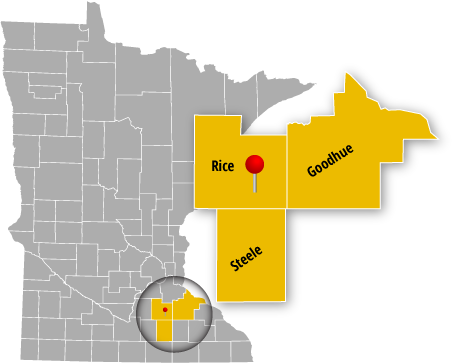 Towing Service Area - Grey Minnesota County Map with Rice, Goodhue, and Steel Counties magnified and highlighted in yellow